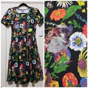Lularoe NWT Amelia dress size L floral birds